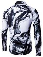 Straight Digital Print Lapel Men's Shirt
