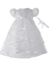 Tulle Scoop Beading Flower Christening Gown with Headpiece