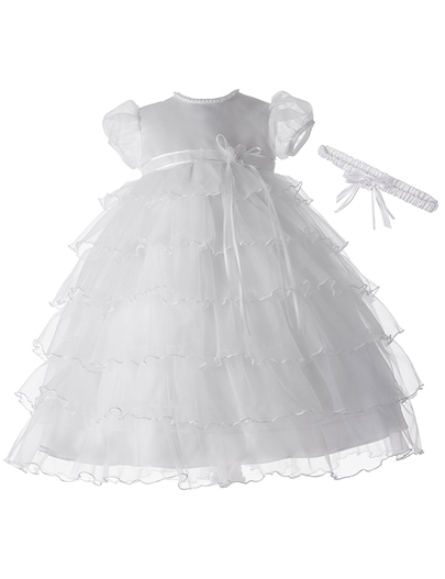 Tiered Layers Tulle Infant Girls Christening Gown for Baptism