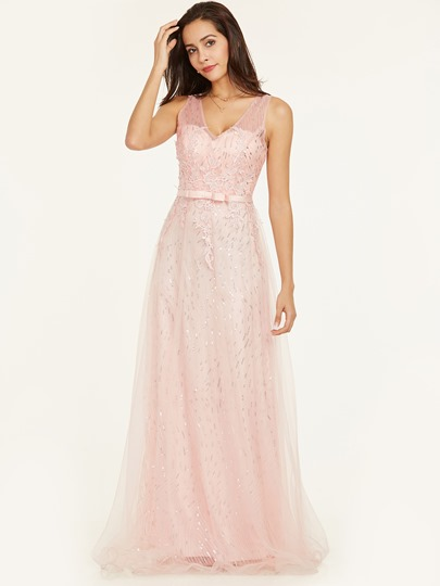 V Neck Backless Sequins A Line Prom Dress
