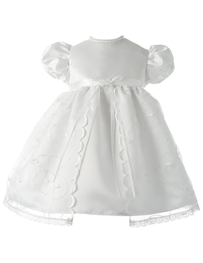 Jewel Neck Short Sleeves Lace Edge Baby Girl's Christening Gown
