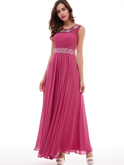 Beading Appliques Pleated Chiffon A-Line Prom Dress