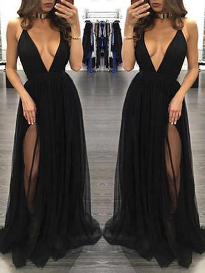 Deep V-Neck A-Line Split-Front Evening Dress