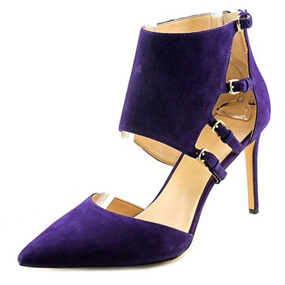 Ultra Violet Pantone Color of The Year Suede Hasp Zipper Pumps