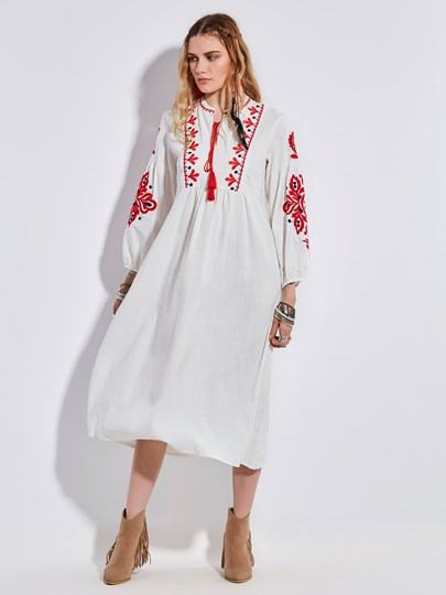 Bohoartist Round Neck Embroidery Lantern Sleeve Women's Maxi Dress