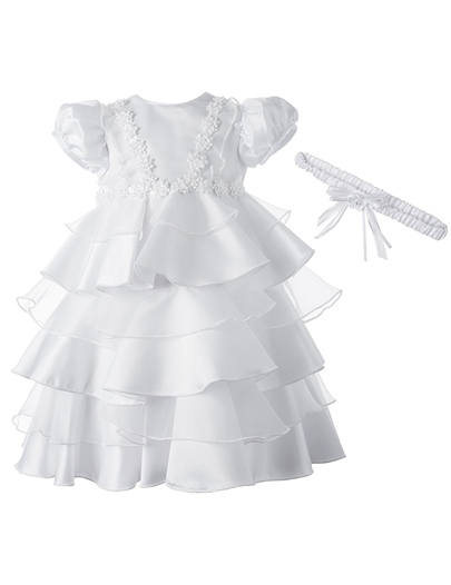 Baby Girls Tiered Pleats Christening Gown with Headban