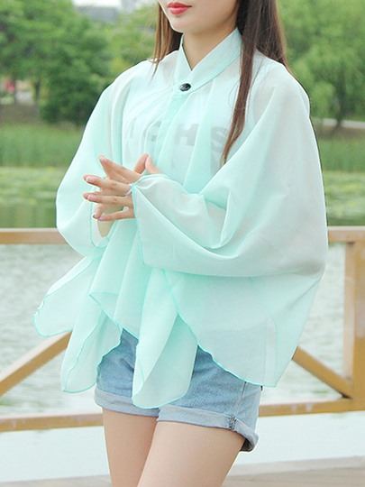 Plain Chiffon Rectangle Cover-Up