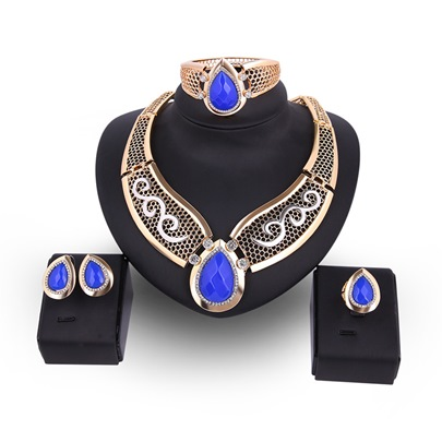 Pear Blue Rhinestone Hollow Out Diamante Jewelry Sets