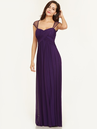 Square Cap Sleeves A Line Evening Dress