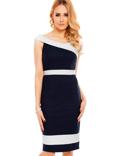 Back Zipper Slash Neck Women's Sheath Dress