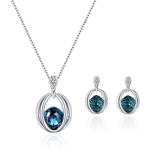 Blue Zircon Inlaid Diamante Geometric Jewelry Sets