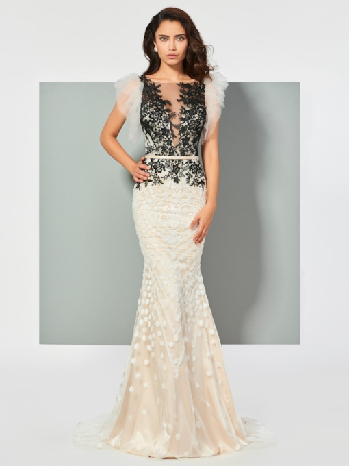 Bateau Mermaid Appliques Lace Sleeveless Floor-Length Evening Dress