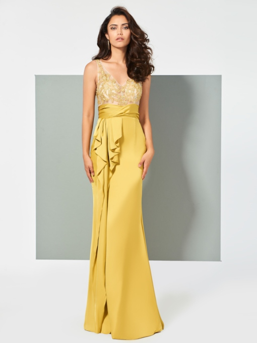 Sheath Appliques V-Neck Ruffles Evening Dress
