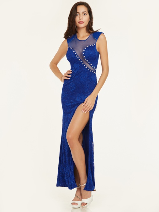 Scoop Neck Sleeveless Split-Front Sheath Evening Dress