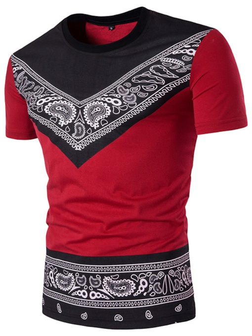 Dashiki Round Collar African Ethnic Printed Slim Fit Men's T-Shirt