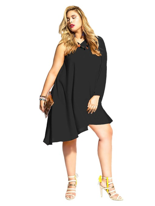 Plus Size Black Off Shoulder Women's Party Dress