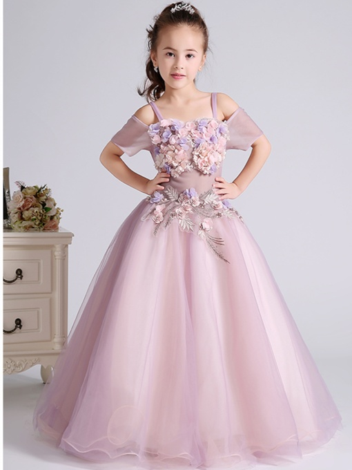 3D Flowers Off the Shoulder Spaghetti Straps Flower Girl Dress