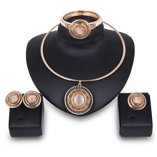 Gold Round Hollow Out Four Piece Jewelry Sets