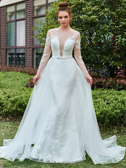 Long Sleeves Applique Tulle Wedding Dress with Train