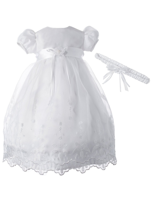 Beading Flower Baby Girls Christening Baptism Dress
