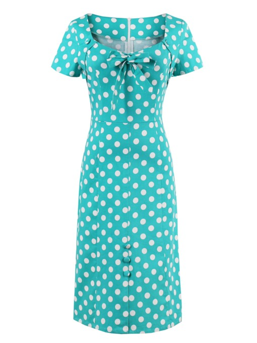 Short Sleeve Polka Dots Women's Sheath Dress