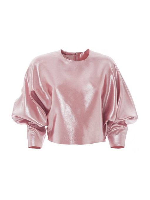 Plain Stand Collar Puff Sleeve Women's Blouse