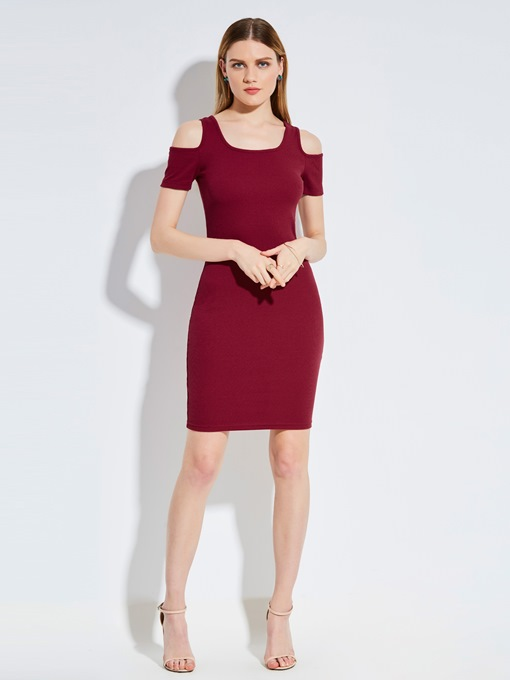 Round Neck Cold Shoulder Women's Bodycon Dress