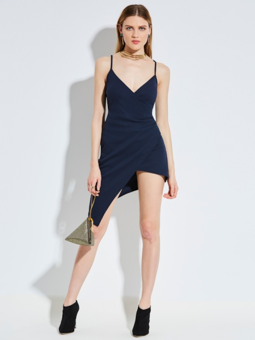 Spaghetti Strap Asymmetric Women's Party Dress