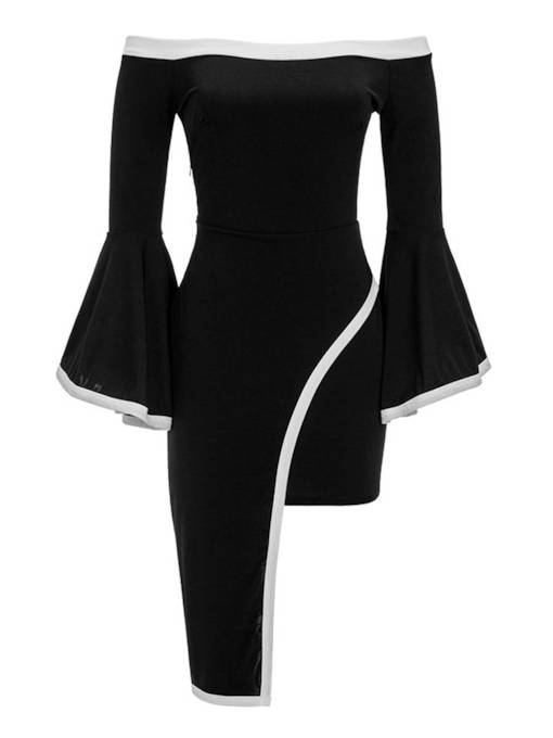 Slash Neck Flared Sleeve Women's Party Dress