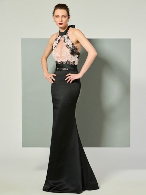Halter Mermaid Bowknot Lace Floor-Length Evening Dress