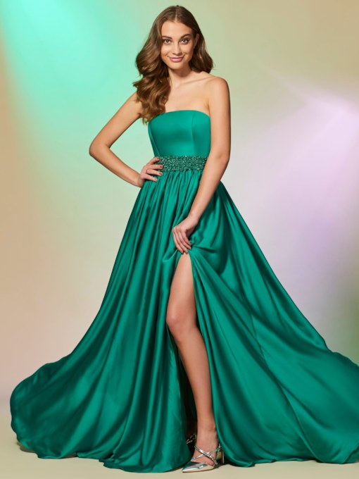 Strapless Beading Split-Front A-Line Long Prom Dress