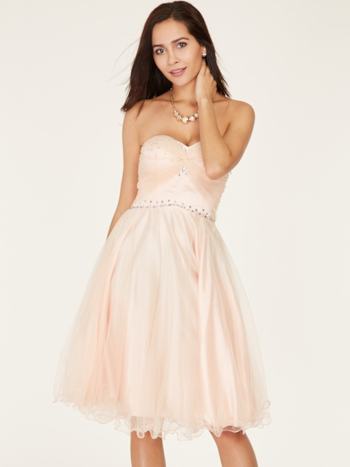 Sweetheart A-Line Beaded Knee-Length Homecoming Dress