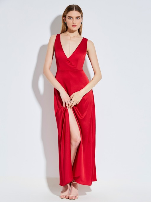Backless Sleeveless Plain Single Women's Party Dress