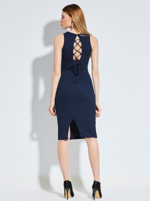 Backless Lace-Up Women's Bodycon Dress