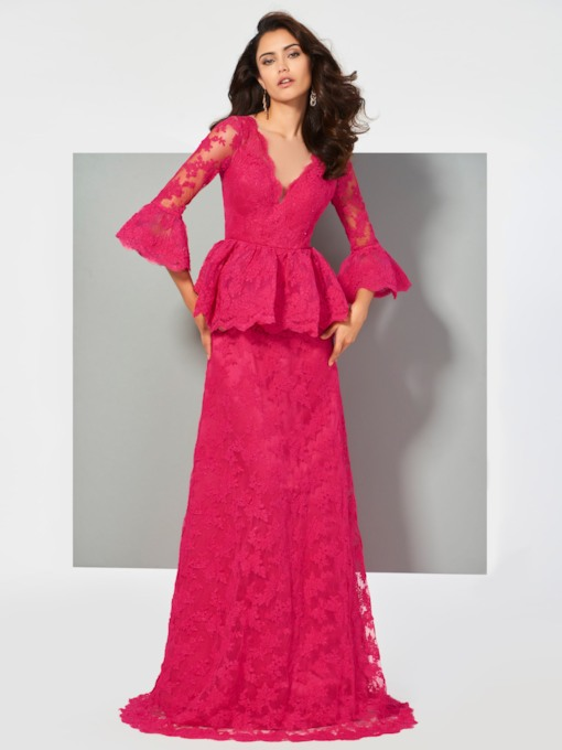 A-Line V-Neck Trumpet Sleeves Button Lace Sweep Train Evening Dress