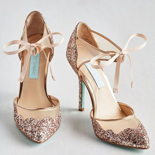 Patchwork Lace-Up Stiletto Heel Wedding Shoes