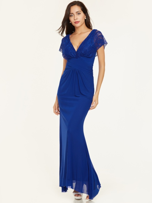 V Neck Zipper-Up Lace Pleats Evening Dress