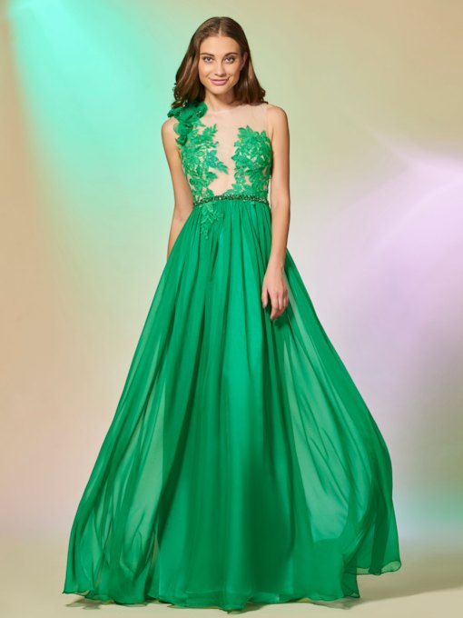 Scoop Appliques Beading Button A-Line Prom Dress