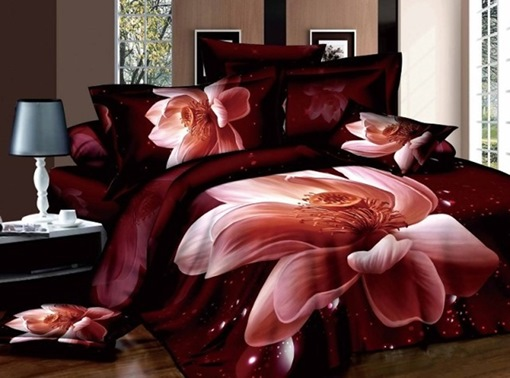 Lifelike Pink Lotus Printed Cotton 4-Piece 3D Bedding Sets Duvet Cover