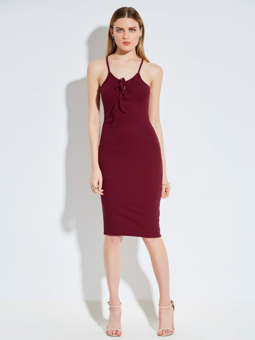 Spaghetti Strap Plain Backless Women's Party Dress