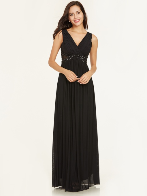 V Neck Beaded Pleats A Line Evening Dress