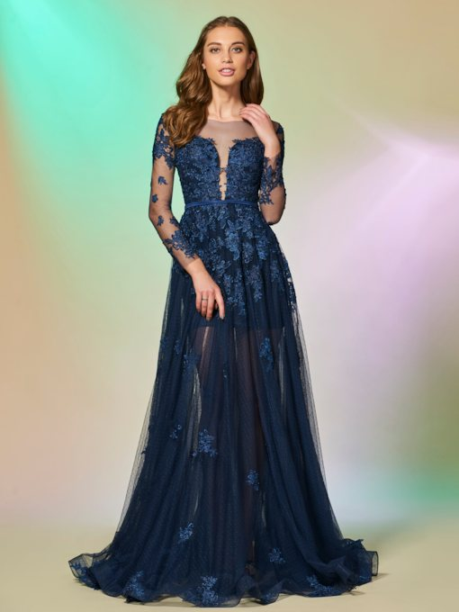 Bateau Appliques Button Floor-Length Prom Dress