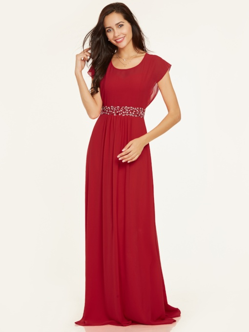 Scoop Neck Cap Sleeves Beaded A Line Evening Dress