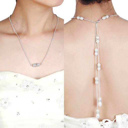 Fashion Pearl Diamante Backdrop Necklace