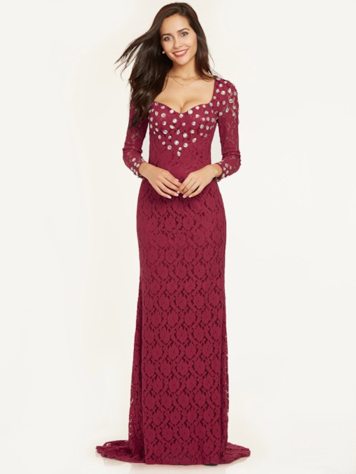 Sweetheart Beaded Lace Mermaid Evening Dress