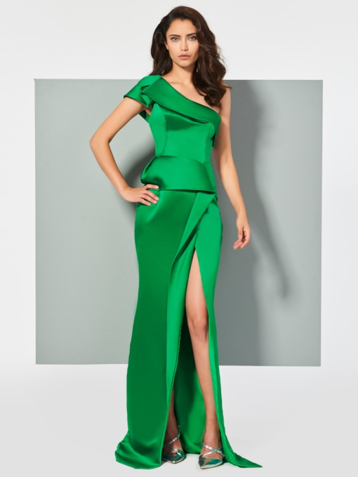 One-Shoulder Sheath Split-Front Pleats Floor-Length Evening Dress