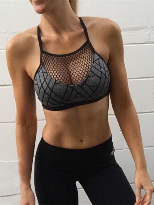 Mesh Gathering Sexy Women's Sports Bra