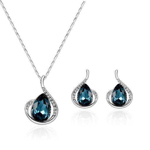 Shiny Blue Synthetic Stones Diamante Jewelry Sets