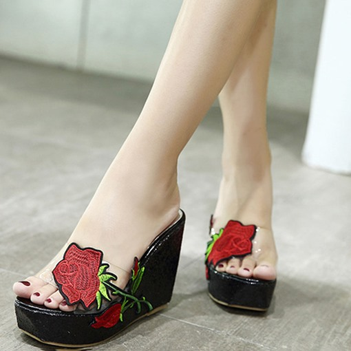 Embroidery Platform Wedge Heel Women's Slide Sandals