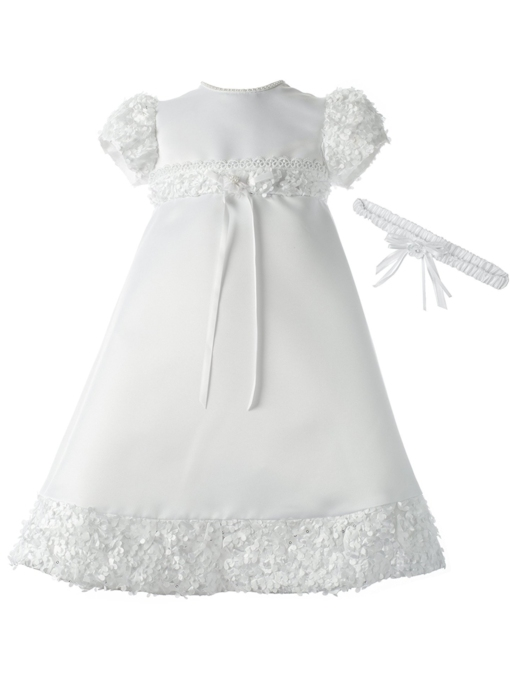 Appliques Beading Scoop Baby Girl Christening Baptism Dress